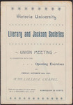 Victoria University Literary and Jackson Societies Union Meeting programme