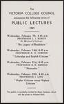 Notice, Victoria College Council Public Lectures