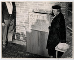 Mrs. Clara McEachren dedicating the cornerstone of the new Wymilwood building