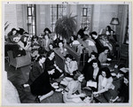 [Female students eating lunch at Annesley Hall]