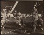 An off-tackle play behind strong blocking, Mulock Cup, Varsity Stadium