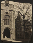 Exterior west entrance of Birge-Carnegie Library and the west elevation of Victoria College before Emmanuel College was built