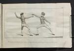 Pl. XIV. De la riporte de Pied ferme apres la Parade du demi-cercle contre un adversaire qui tire sans connôitre sa mésure.