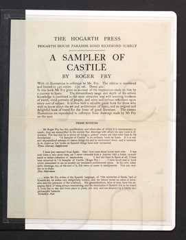 The Hogarth Press, Paradise Road, Richmond, Surrey : A sampler of Castile by Roger Fry.....