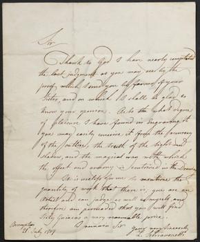 [Letter] 1807 July 21, Brampton [to] Mr. Cromek, Newman Street.
