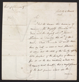 [Letters in response to invitations to dine with the King at St. Jamess Palace on Tuesday, 16 April 1833]