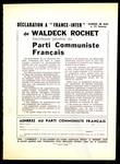 """Déclaration a """"France-Inter"""" de Waldeck Rochet, Secrétaire général du Parti Communiste Français"""