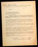 Déclaration devant la Commission Disciplinaire de lUniversité de Paris, le lundi 6 mai à 11 heures.