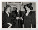 Chancellor Brown with Mary Duff and Phyllis MacKenzie, joint winners of Governor Generals medal