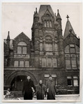 Three students in front of Victoria College