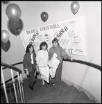 [1980s graduates on Wymilwood staircase at the All Years Gala Reunion]