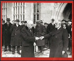 Mr. Ames handing key of Emmanuel College to Hon. N.W. Rowell