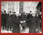 Mr. Ames handing key of Emmanuel College to Hon. N.W. Rowell