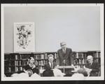 Mrs. Pratt, Principal Frye, President Moore and Dr. Leonard Brockington at the dedication of the E.J. Pratt Room of Contemporary Poetry