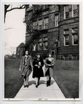[Women students walking near Victoria College (Building)