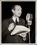 "Raymond Massey speaking into microphone for radio play ""Abe Lincoln in Illinois"""