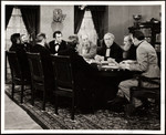 "Raymond Massey and other actors at a meeting in the television production ""The Day Lincoln Was Shot"""