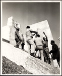 "Raymond Massey at monument to Vimy Ridge in CBC World War I documentary ""And We Were Young"""