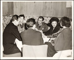 Raymond Massey, Ruth Gordon, Paul Henreid, Judy Garland and others at table in Stork Club