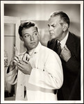 "Raymond Massey looking over Richard Chamberlains shoulder as characters in ""Dr. Kildare"""