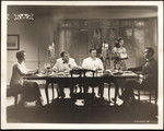 """Raymond Massey, Mary Astor, Thomas Mitchell and Jerome Cowan at dining table with female servant in """"The Hurricane"""""""
