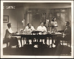 "Raymond Massey, Mary Astor, Thomas Mitchell and Jerome Cowan at dining table with female servant in ""The Hurricane"""