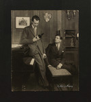 """Raymond Massey as """"Hugh Sebastian"""" and Laurence Olivier as """"Steven Beringer"""" in """"The Rats of Norway"""" at the Playhouse, London, 1933"""