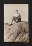 Kathleen Coburn posing on rock