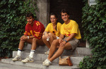 Victoria College students outside Middle House during Orientation 1985