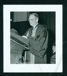 Northrop Frye at podium at his installation as Principal of Victoria College