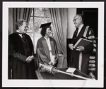 Northrop Frye with Margaret Atwood on the occasion of her receiving an honorary degree from the University of Toronto, 1983